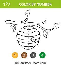 着色, -, 蜂, 本, 子供, ミツバチの巣箱, 数の色