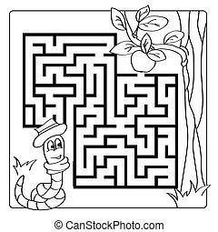 着色, 迷路, 困惑, -, ゲーム, 本, 迷路, 記入項目, exit., 子供, kids.