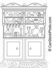 着色, 食器棚, 本, 台所, あなたの