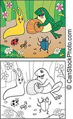 着色, book., イラスト, の, かたつむり, 昆虫, そして, frog.