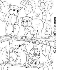 着色, childrens, 家族, nature., 本, キツネザル, 漫画
