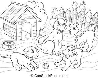 着色, childrens, 家族, nature., 犬, 漫画, 本, お母さん, 子犬, 子供