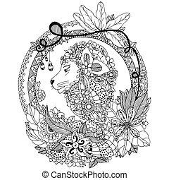 着色, frame., 反, 円, いたずら書き, 禅, イラスト, 花, ライオン, ベクトル, 黒, white., 花, portrait., もつれ, 本, stress.