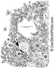 着色, illustration., フレーム, 貝殻, pattern., 海洋, ベクトル, 黒, white., artwork., 型, adult., 引かれる, 手, ボーダー, 本, zentangle., ページ