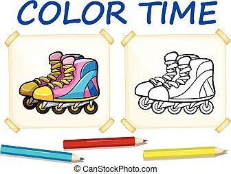 着色, rollerskates, テンプレート