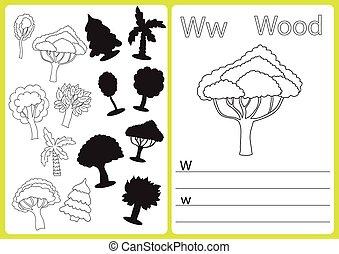 着色, worksheet, アルファベット, 困惑, -, 子供, a-z, 練習, 本