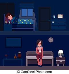 睡時間, infographics, 矢量, 套間, illustration., infographic, 怎樣, 為了得到, 好, sleep., 失眠, 以及, 好, 睡眠, 套間, 旗幟