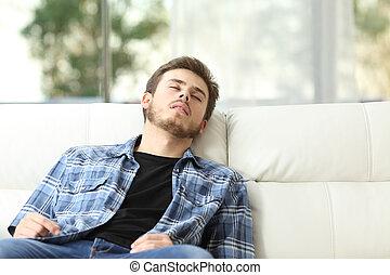 睡眠, ソファー, 人, 疲れた