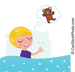 睡眠, テディベア, 約 夢を見ること, かわいい, 子供, ブロンド