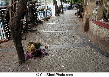 睡眠, ホームレスである, 小道, kolkata, 人々, インド