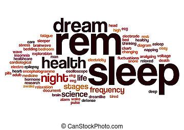 睡眠, 単語, 雲, rem
