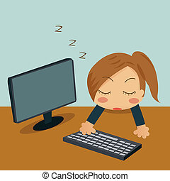 睡眠, 女性実業家, 彼女, オフィス