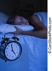 睡眠, 女, 時計, 警報, 前部