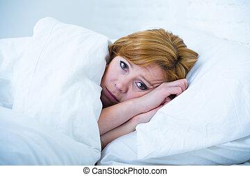 睡眠, 女, 苦しみ, 睡眠, ベッド, 病気, 無秩序, 憂うつ, 若い, 不眠症, あること, ない, 不快感