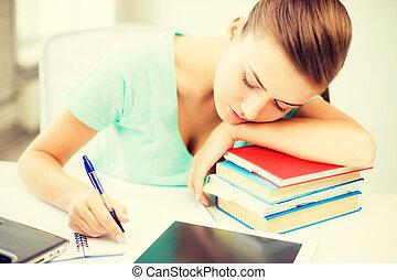 睡眠, 本, 株, 学生, 疲れた