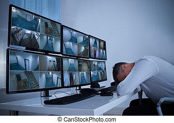 睡眠, 机, オペレーター, monitor's, セキュリティー, マレ