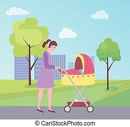 睡眠, 歩くこと, 女, 乳母車, 子供