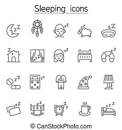 睡眠, 薄くなりなさい, アイコン, セット, 線, スタイル