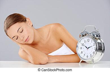 睡眠, 警報, 女, 一緒に, 時計