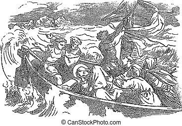 睡眠, lake., イエス・キリスト, 聖書, 8, 図画, 上に, woke, の上, calms, 聖書, 新約聖書, ルーク, 嵐, 物語, 型, 新しい