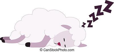 睡眠, sheep, 白