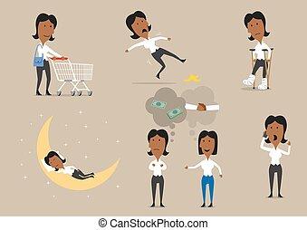 睡觉, businesswoman, 购物, 电话, 谈话