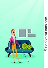 瞎, 妇女, illustration., 矢量, 棍