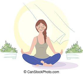 瞑想する, イラスト, 朝, ベクトル, meditation., 女の子, 開いた, 窓。