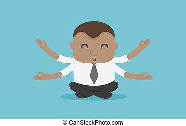 瞑想する, ポジティブ, ビジネスマン, 概念, 考え, アフリカ