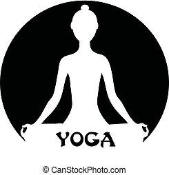 瞑想する, -, 女, 概念, ヨガ