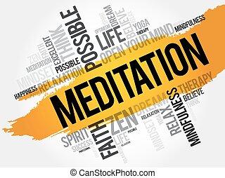 瞑想, 単語, 雲