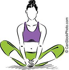 瞑想, 姿勢, ヨガ, illustratio