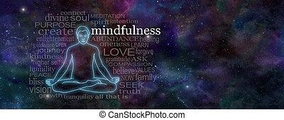 瞑想, 概念, 旗, mindfulness