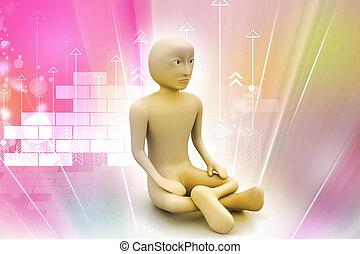 瞑想, 3d, 人
