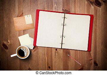 瞬間, ノートペーパー, ワークスペース, 古い, 木製である, カップ, テーブル, 写真, コーヒー, ノート