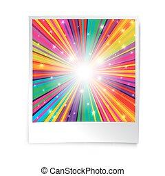 瞬間, ブランク, 写真, テンプレート, ∥で∥, 虹, psychedelic, rays., レトロ, 型,...
