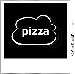 瞬間, 写真, フレーム, 単語, 雲, ピザ