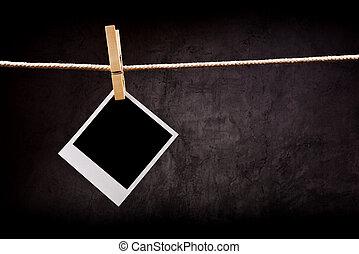瞬間, image., スペース, 写真, 写真撮影, 衣服, 付けられる, ロープ, ペーパー, フレーム, コピー, あなたの, pins.