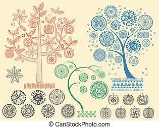 矢量, 不同, 文明, illustration., 古老, mayan, 樹, 圖樣, 元素, 阿茲台克人, ornaments.