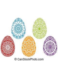 矢量, 东方, 色彩丰富, 蛋