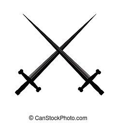 矢量, 二, 插圖, 劍