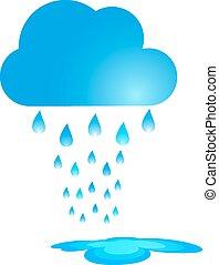 矢量, 云, 蓝色, 大雨, illustration.