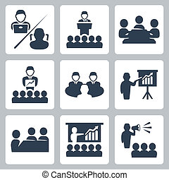 矢量, 会议, 放置, 会议, 图标