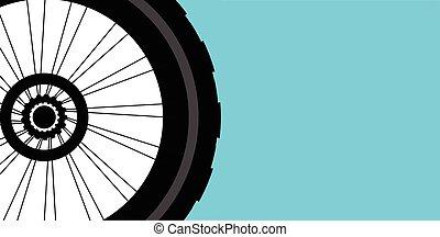 矢量, 侧面影象, 在中, a, 自行车轮子