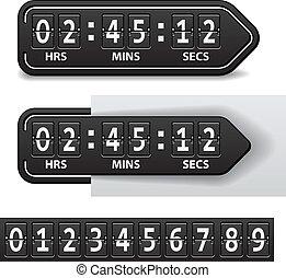 矢量, 倒計時, 黑色, 机械, 定時器