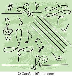 矢量, 元素, 為, 音樂, 設計