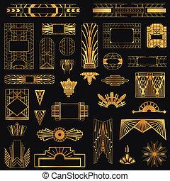 矢量, 元素, 艺术, 葡萄收获期, -, deco, 设计, 框架