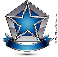 矢量, 光榮, 有光澤, 設計元素, 豪華, 藍色, 3d, 星, 由于, 銀, outline, 概念性, 圖表, 樣板, 清楚, eps, 8, 灰色, 裝飾, 符號。