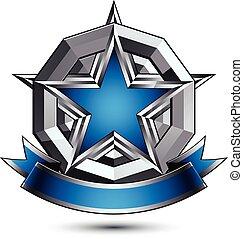 矢量, 光榮, 有光澤, 設計元素, 豪華, 藍色, 3d, 星, 由于, 銀, outline, 概念性, 圖表, 輪, 樣板, 清楚, eps, 8, 灰色, 裝飾, 符號。