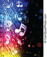 矢量, -, 党, 摘要, 色彩丰富, 波浪, 在上, 黑色的背景, 带, 音乐笔记